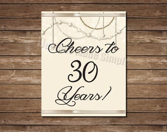 Cheers to 30 Years Gold and Pearl Birthday or Anniversary Bar Sign - Instant Download