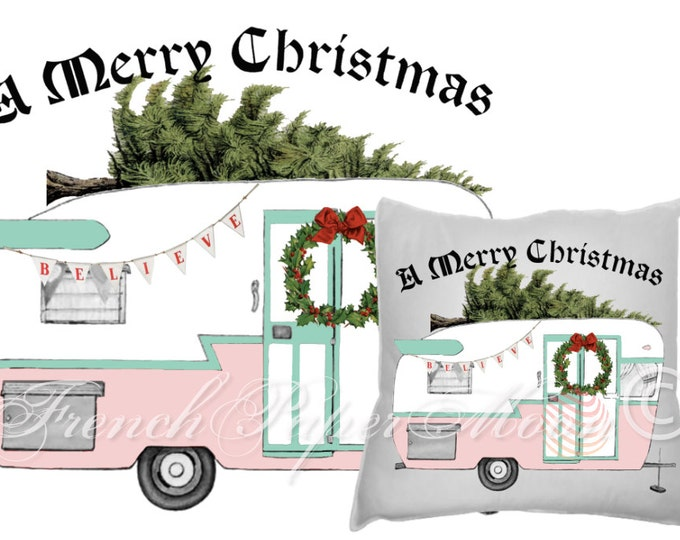 Vintage Digital Retro Hand-drawn Christmas Camper, Trailer Digital Download, Pink Christmas, Pastel Christmas, Christmas Pillow Graphic