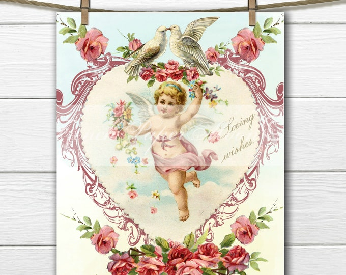 Victorian Shabby Valentine Cherub, Angel, Roses, Shabby Valentine Pillow Graphic Transfer, Digital Download