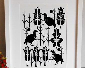 Winter,contemporary,partridge ,bird paper cut