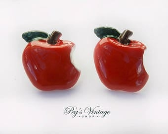 Adorable Retro Resin CANDY APPLE RED Studs Earrings Pin Up Vintage Style Jewelry