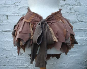 Brown Pixie Skirt, Shredded Bustle,  Upcycled Woman's Clothing, Tribal Tatterd Skirt, Cosplay, Wild  Distressed Cotton Hand Dyed Layers