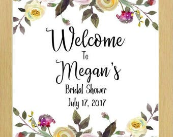 Welcome Sign, Bridal Shower Sign, Bridal Shower, Floral Bridal Shower Welcome, Baby Shower Welcome Sign, Floral Bridal Shower Welcome Sign