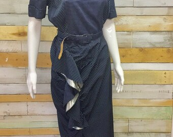 Incredible blue white and silver stripe Westwood style 1950's wiggle dress M wedding Goodwood