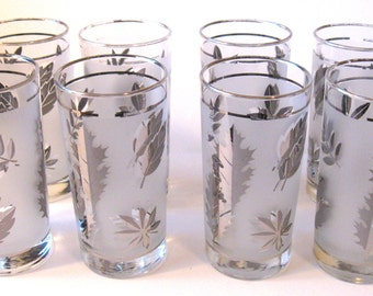 Set of 8 Vintage Libbey Frosted Silver Autumn Leaf Tumblers, 12 oz.