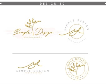 Watercolor Logo Design Branding Package Inc. Photography Logo Watermark - tree gold glitter initials letters script cute Logo- Logo 28