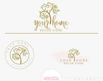 Fun Tree 5 -  Premade Photography Logo and Watermark, Classic Elegant Script Font GOLD GLITTER TREE childrenCalligraphy Logo