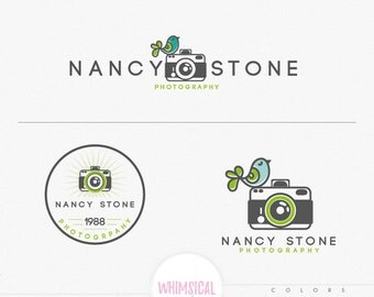 bird and camera cute logo - Design Branding Package Inc. feminine Logo children boutique - Photographer package logo Script Watercolor Logo