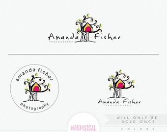 OOAK Whimscial tree house 2 Premade Photography Logo and Watermark, Elegant Font TREE children Calligraphy Logo colorful exclusive logo