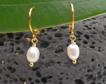 Gold Earrings, Tiny 24K Gold Locking Hoop Earrings with White Pearls - Minimalist, Childrens Earrings, My First Pearl Earrings
