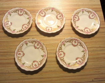 """5 Plates Baily Banks & Biddle Company - """"Philadelphia Pink"""" Gold Scalloped Edging - Collectibles - Plates  England China"""