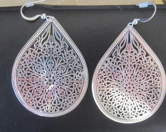 New LARGE Silver Tear Dangle and Drop Earrings, Filigree Earrings - Hypo Allergenic Jewelry - Lace Earrings - Earrings - Jewelry -