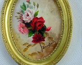 Small Vintage Oval Rose Painting