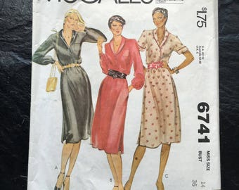 Vintage 70s Misses' Dress Pattern // McCall's 6741, sizes 14, loose fitting pullover, pockets