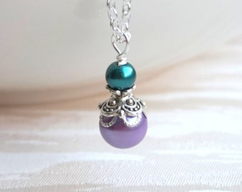 Lavender Color Pearl Bridesmaid Necklace Teal And Purple Bridesmaid Jewelry Necklace Gift Teal and Light Purple Pearl necklace Flower Girl