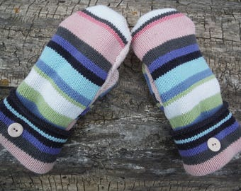 Cozy Sweater Mittens, hot pink and gray design, made from recycled upclycled mittens, fleece lined, so warm and cozy