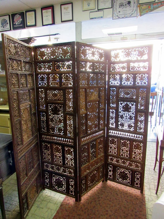 Teak Room Divider with four panels folding screens and carved details