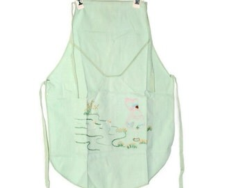 Vintage Kids Apron Little Girl Full Kitchen Apron With Pockets Handmade Sunbonnet Sue Embroidered Apron
