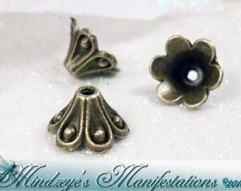 Antq Bronze Flower Bead Cap 10x6mm