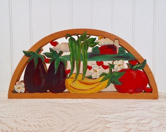 Vintage Handmade Vegetable Garden Wooden Wall Hanging Farm Kitchen Summer Cabin Country Cottage Decor Mother's Day Gardener's  Gift OOAK