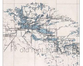 Hand Painted Map of the Boundary Waters Canoe Area, Rainy Lake, Northern Minnesota, 1930 / Vintage BWCA / Old BWCA Map / Rainy Lake Map
