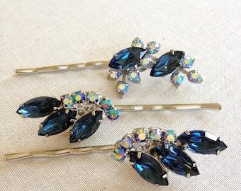 Repurposed vintage hair pins, navy blue, rhinestone leaves, wedding hair accessory, vintage wedding, bridesmaid gift, something blue, hair