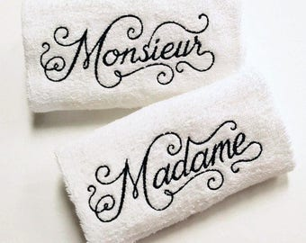 His Her French Towel Set Madame Monieur Towels French Bathroom Decor French