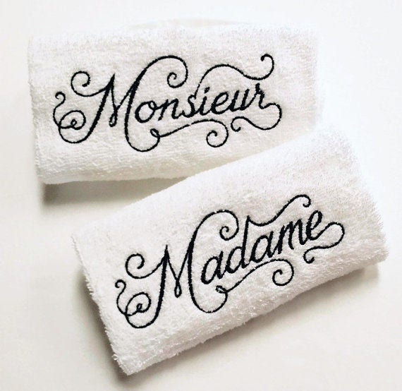 His U0026 Her French Towel Set   Madame Monieur Towels   French Bathroom Decor    French Towels   Embroidered Towels   His And Her Bathroom