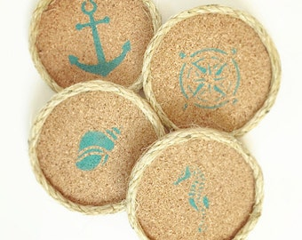 Turquoise Coastal Home Decor Drink Coasters, Summer Beach Cottage Decor, Nautical Beach House Decor, Coastal Decor Beach, Cork Drink Coaster