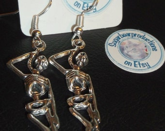 Silver skeleton hanging man dangle Earrings on French hooks, rubber stoppers included, noose, sugarbearproductions, Gift wrapped,