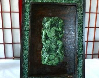 Large Aztec Wall Hanging Jade Green Stone Mosaic Wood And