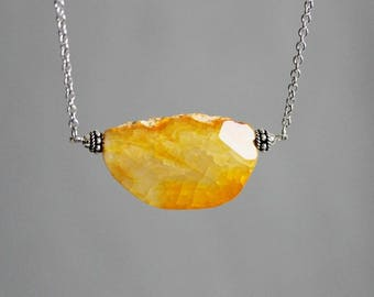 Agate Necklace Raw Gem Necklace Agate Yellow Necklace Big Agate Pendant Raw Stone Necklace Raw Crystal Necklace Gemstone Bohemian Necklace