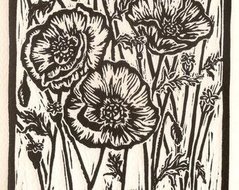 "Hand-carved linocut ""I papaveri"" fine art print / card on 4.5 x 6.75 Fabriano 260g paper"