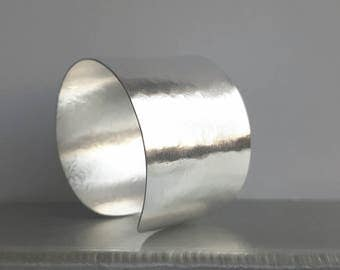 Silver hammered cuff