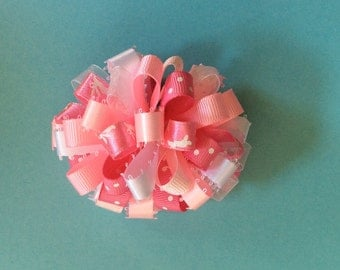 Pink and White Easter loopy barrette