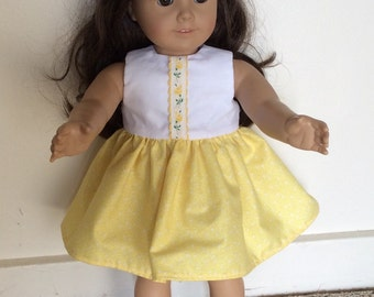 Vintage spring summer yellow dress for American Girl 18 inch doll