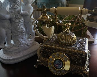 FREE SHIPPING, Vintage, Brass Courting Telephone