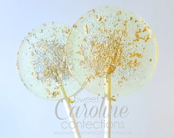 Gold and Silver Sparkle Lollipops, Christmas Lollipops, Holiday Gift, Stocking Stuffer, Candy, Sweet Caroline Confections-Set of Six