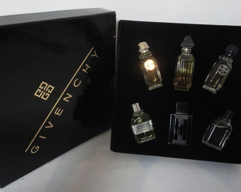 Vintage Givenchy Assorted Six Piece Mens & Womens Eau de Toilette Miniatures Perfume Gift Set
