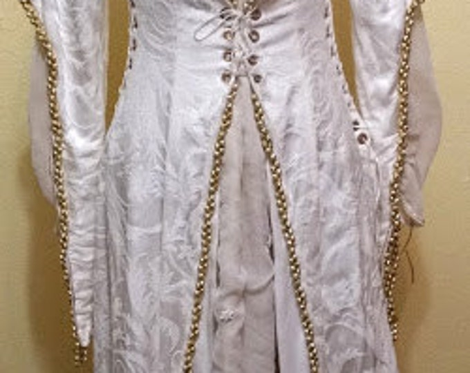 Exquisite Young Woman's Winter Festival Gown with Corseted Jacket