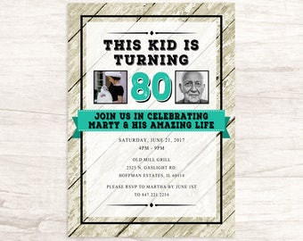 Milestone Birthday Invitation for Men or Women With Photographs