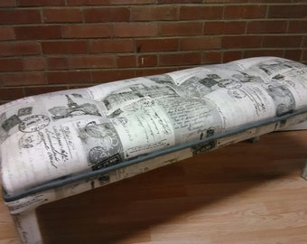 Upcycle Bench, Century Modern Bench, vintage Bench, Restored Bench, French Postal style Bench, seat Bench, side bed seat, side bed Bench