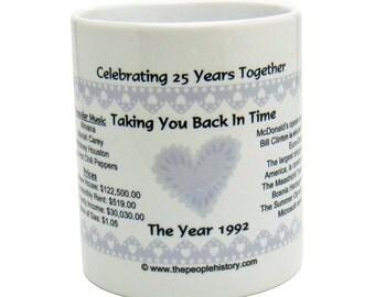25th Anniversary 1992 Coffee Mug - Celebrating 25 Years Together