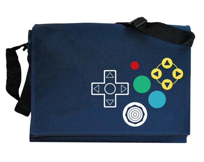 N64 Joypad Controller Buttons Navy Blue Messenger Shoulder Bag