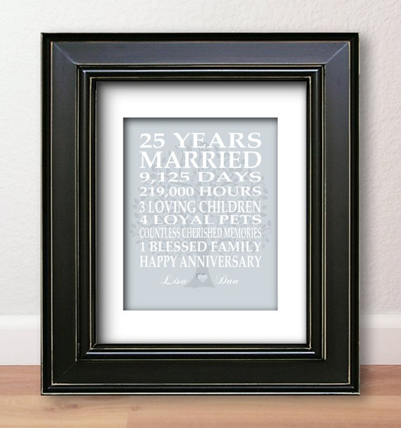 25th Wedding Anniversary Gift List : 25th Wedding Anniversary Gift Silver Anniversary Print Personalized ...