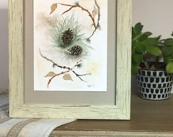 Pinecone Watercolor Painting *Frame included*
