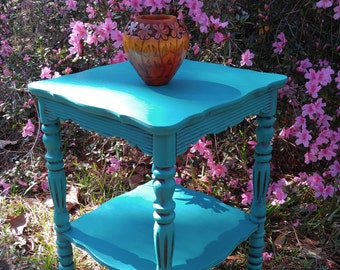 Chalk paint furniture,Small vintage table, Florence Annie Sloan,Accent table,Two tier,turquoise table, Antique Right up my alley designs