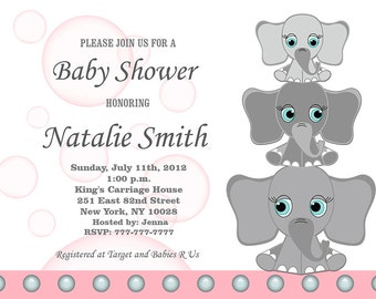 Pink Baby Shower Invitation Elephant Girl Baby Shower Invitation Pink and Gray Baby Girl Shower Invitation Invites (l4) Free Thank You Card