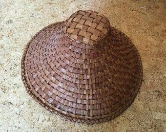 Large Native Haida Indian Pacific Northwest Potlach Hat, Woven Cedar Bark Basket, ceremonial