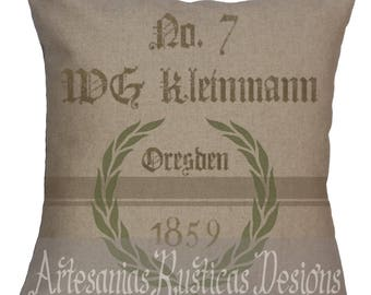 Grain Sack Pillow Linen-Cotton Blend German Grain Sack Throw Pillow Cover Euro Sham